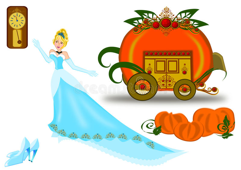 Cinderella icon set royalty free illustration