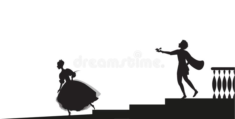 Cinderella kör ut från boll och lossar hennes sko, vektor illustrationer