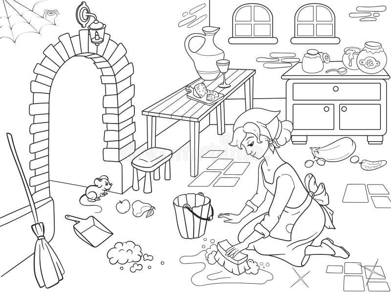 Cinderella maakt de keuken schoon Het meisje op de vloer, rond knoeit Beeldverhaal kleurend boek vector illustratie