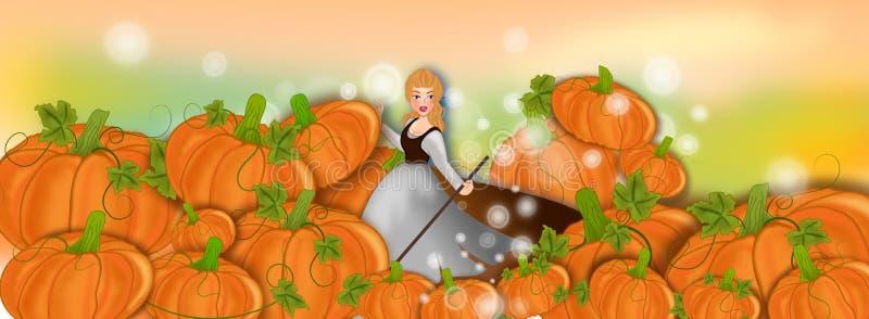 Cinderella and her various pumpkins stock illustration