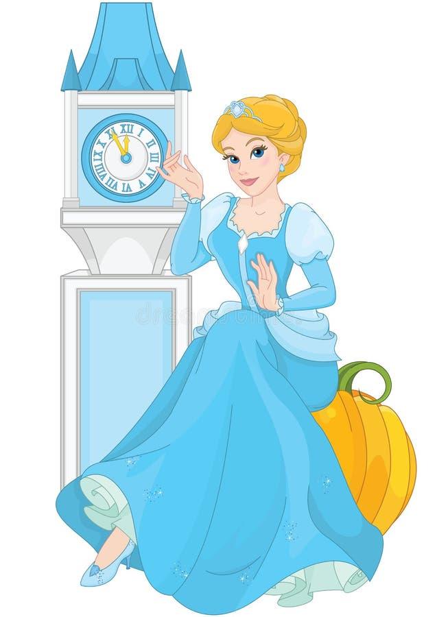 Cinderella que senta-se na abóbora ilustração royalty free