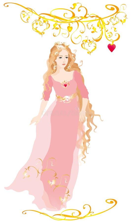 Cinderella in roze kleding vector illustratie