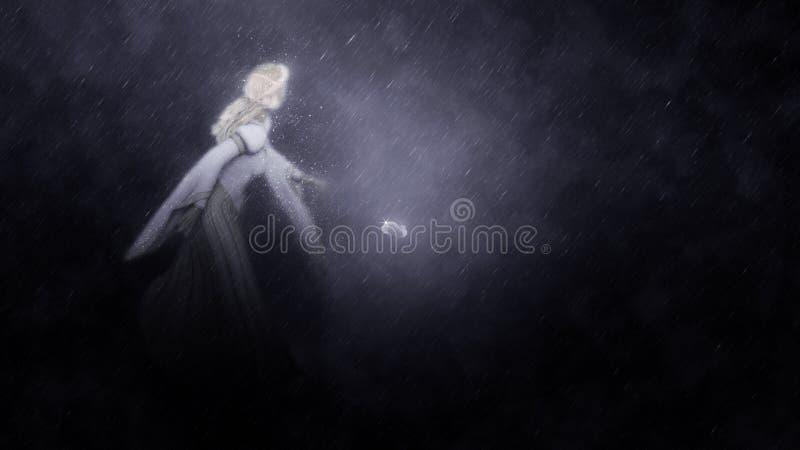 Cinderella Running Midnight Illustration illustration stock