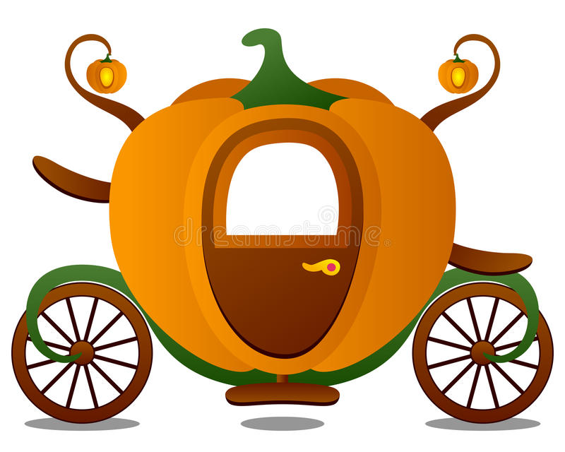 Cinderella's Carriage. Fairy tale scene: the pumpkin shaped carriage of Cinderella or The Little Glass Slipper. Eps file available