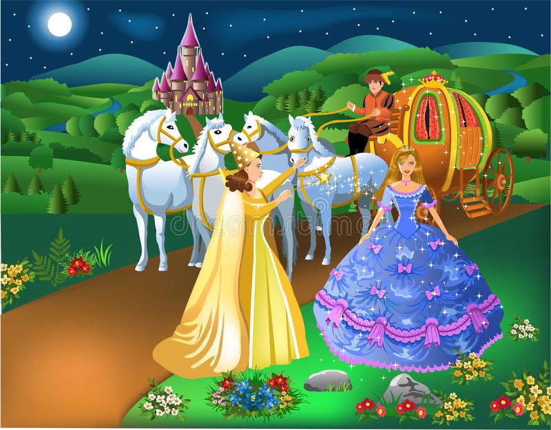 Cinderella scene with godmother fairy transforming pumpkin into carriage with horses and the girl into a princess stock illustration