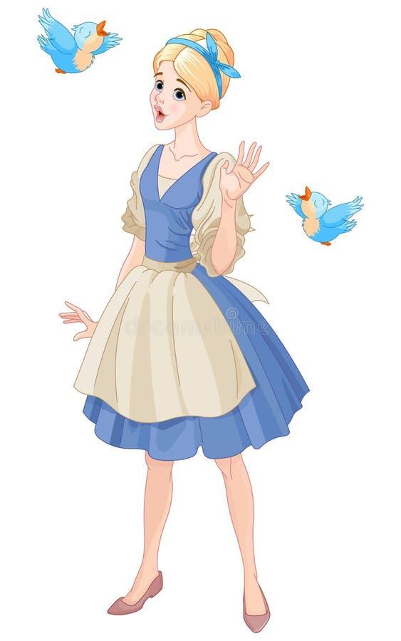 Cinderella Singing met Vogels stock illustratie