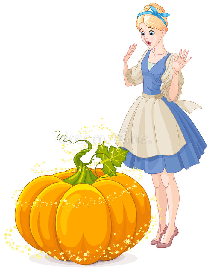Cinderella Surprised par un potiron magique illustration de vecteur