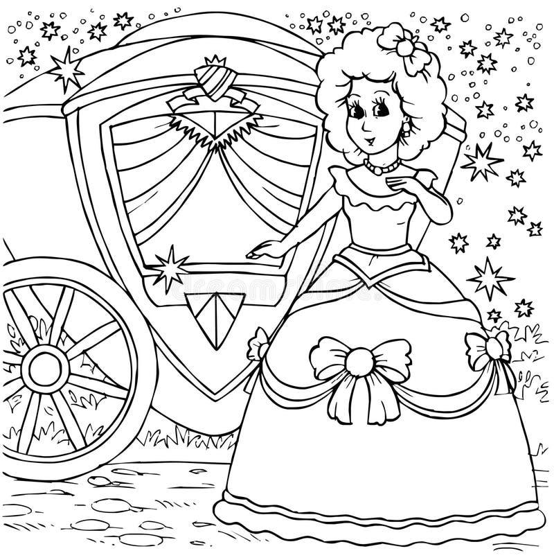 Cinderella vóór een bal vector illustratie