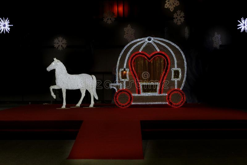 Cinderella vagn med hästen arkivfoto