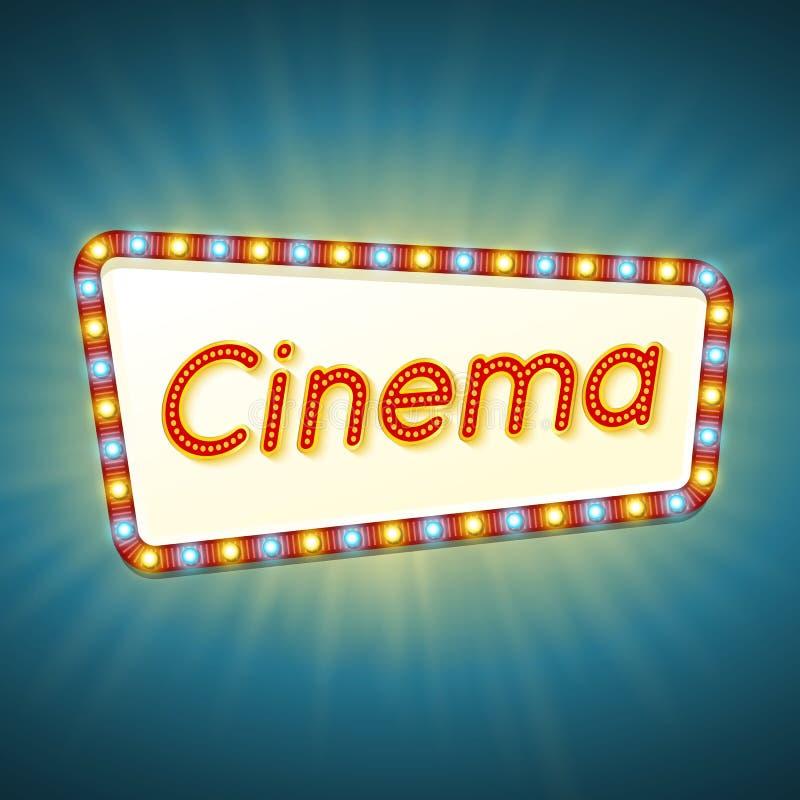 cine bandera ligera retra 3d con los bulbos brillantes Marco rojo con las luces ámbar azules y y cine del texto en fondo brillant stock de ilustración