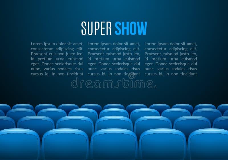 Cine con la fila de asientos azules Plantilla del evento de la premier Diseño estupendo de la demostración Concepto de la present libre illustration
