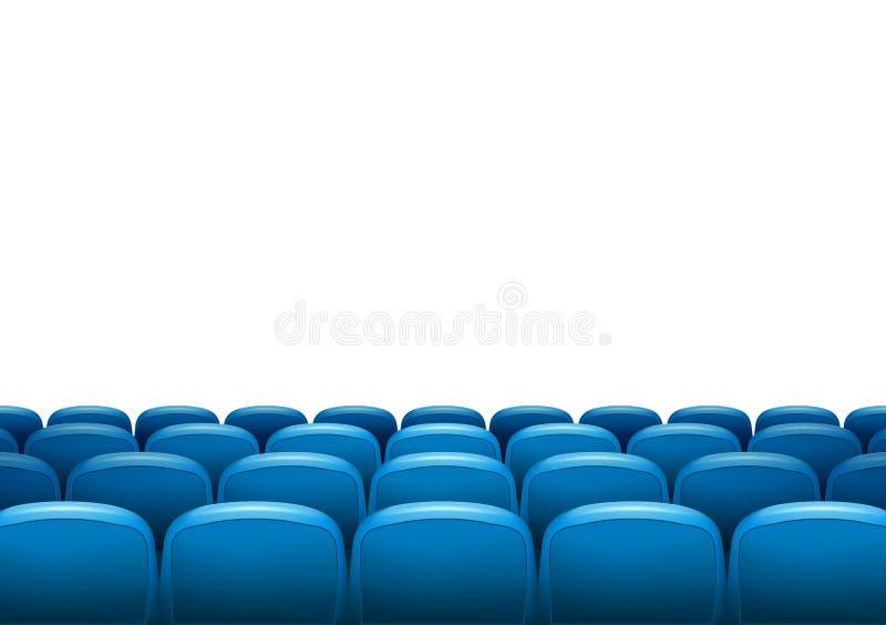 Cine con la fila de asientos azules Plantilla del evento de la premier Diseño estupendo de la demostración Concepto de la present ilustración del vector