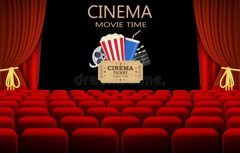 Cine con la fila de asientos rojos libre illustration