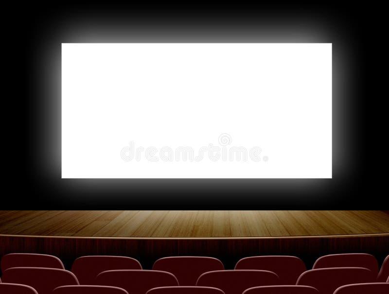 Cine con la pantalla y los asientos blancos ilustración del vector