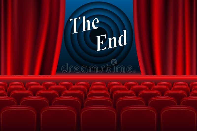 Cine de la escena el fondo del extremo Interior realista del pasillo del cine con los asientos rojos Ilustración del vector stock de ilustración