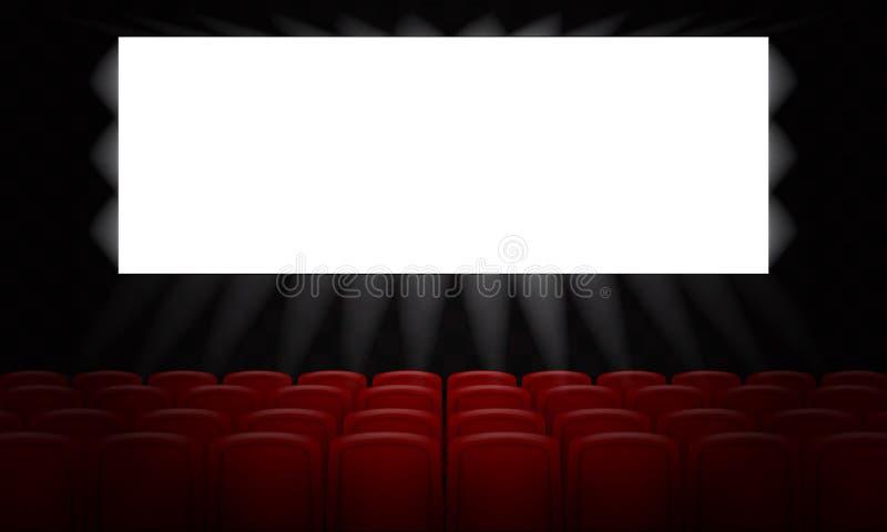 Cine de la película con la pantalla blanca vacía para el diseño del cartel ilustración del vector 3d stock de ilustración