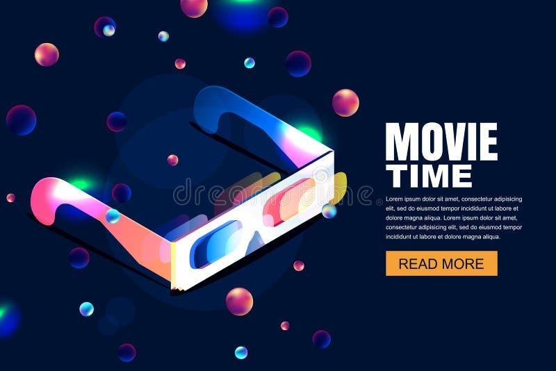 Cine de neón que brilla intensamente del vector, ejemplo de la película vidrios 3d en estilo isométrico en fondo cósmico del ciel ilustración del vector