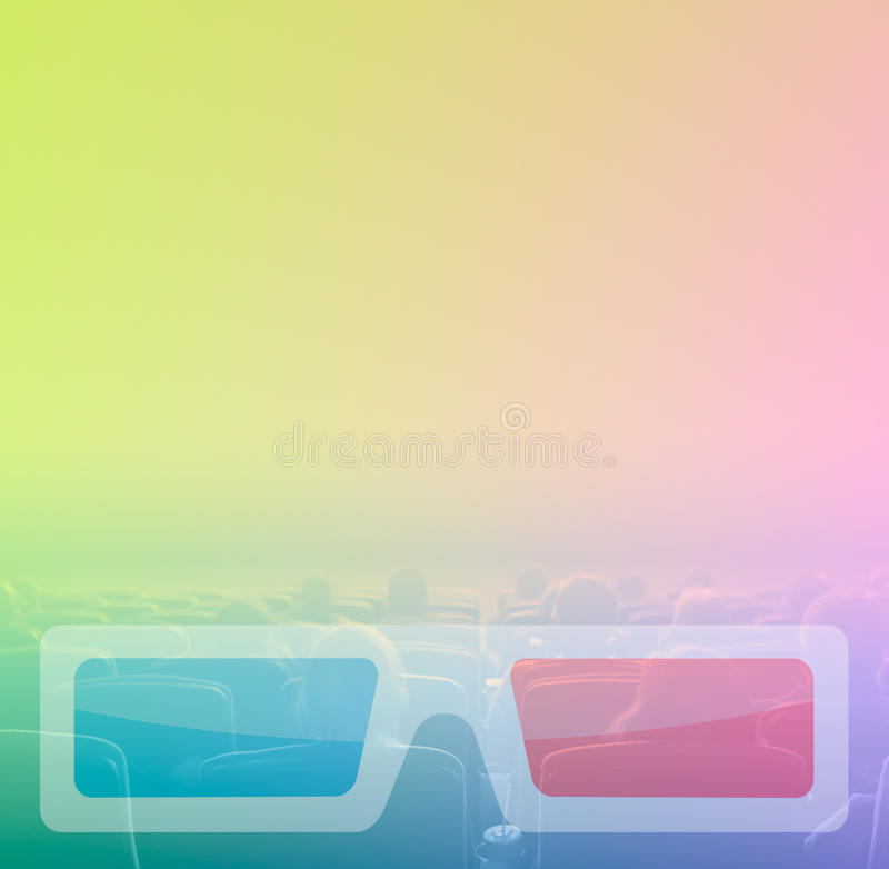 Cine del reloj 3D de los espectadores, tono del RGB fotos de archivo libres de regalías