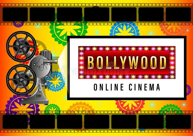 Cine en línea de Bollywood, proyector de película ilustración del vector
