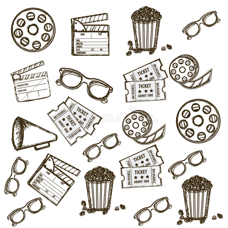 Cine icons. Illustration of icon of cinema, 3D cinema glasses, director slate, popcorn, tickets, and Film reel, vector illustration stock illustration