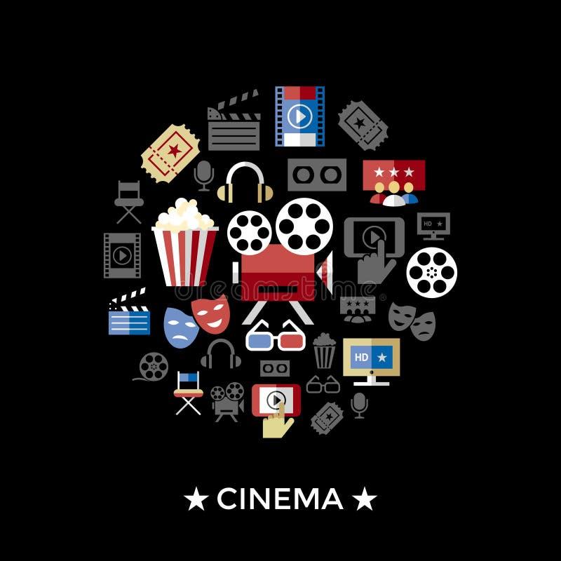 Cine negro rojo del vector de Digitaces stock de ilustración