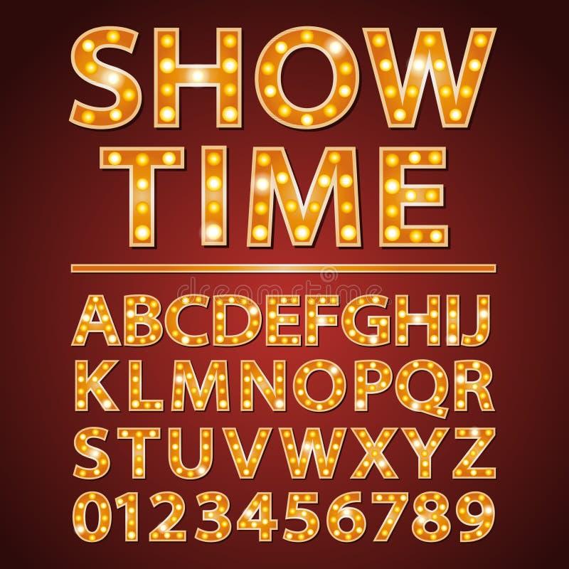 Cine o teatro anaranjado de la demostración de la fuente de las letras de la lámpara de neón del vector stock de ilustración