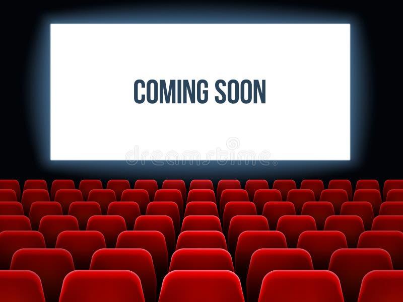 Cine Pasillo Película interior con venir pronto texto en la pantalla blanca y asientos rojos vacíos Fondo del vector del cine stock de ilustración