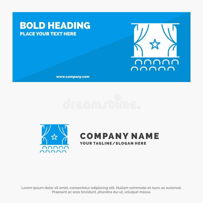 Cine, principio, película, funcionamiento, bandera sólida y negocio Logo Template de la página web del icono de la premier libre illustration