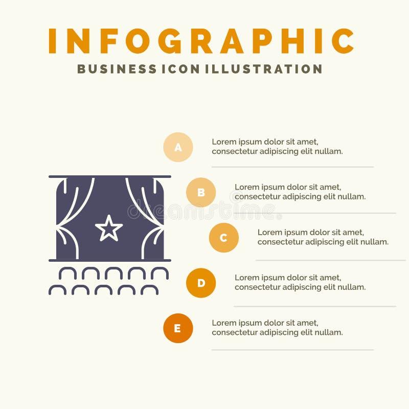 Cine, principio, película, funcionamiento, fondo sólido de la presentación de los pasos de Infographics 5 del icono de la premier ilustración del vector