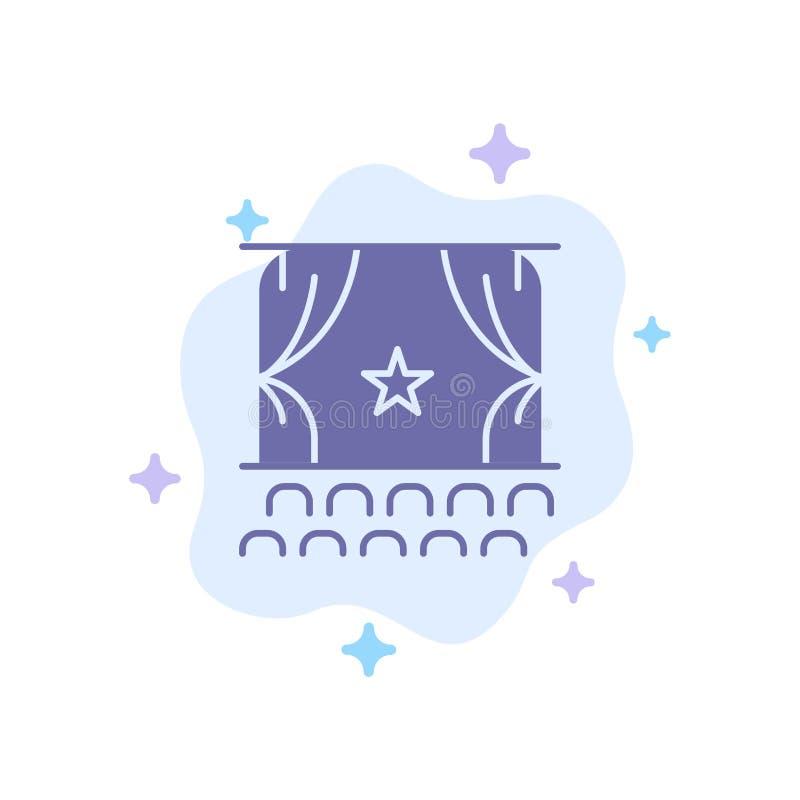 Cine, principio, película, funcionamiento, icono azul de la premier en fondo abstracto de la nube ilustración del vector