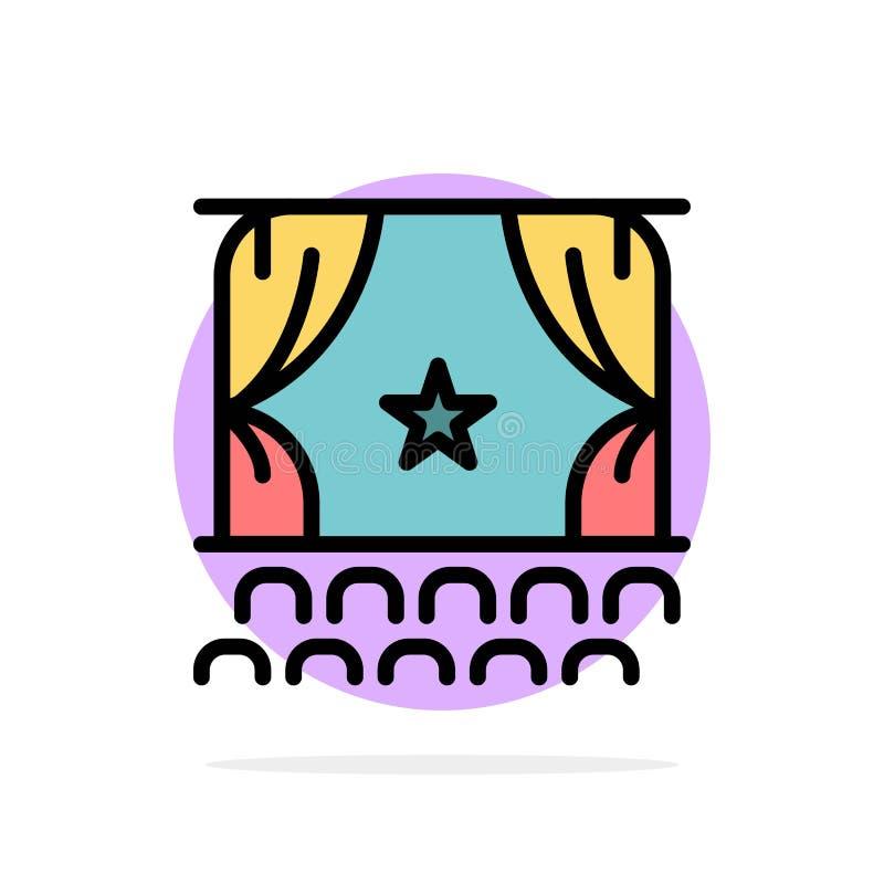 Cine, principio, película, funcionamiento, icono plano del color de fondo del círculo del extracto de la premier stock de ilustración