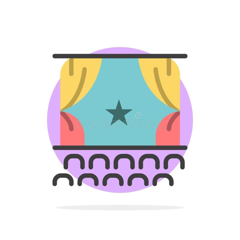 Cine, principio, película, funcionamiento, icono plano del color de fondo del círculo del extracto de la premier libre illustration