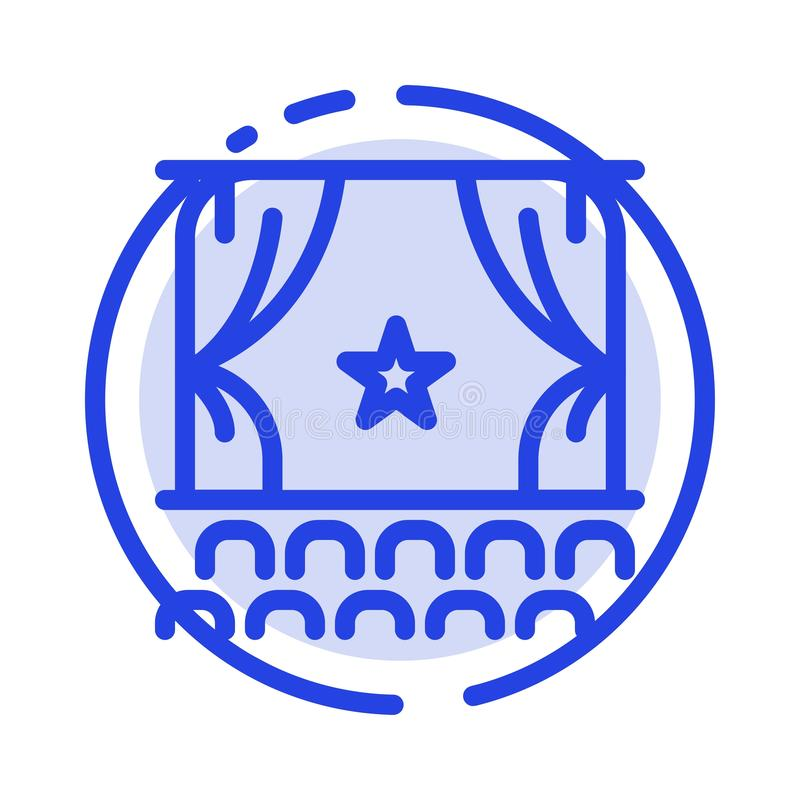 Cine, principio, película, funcionamiento, línea de puntos azul línea icono de la premier libre illustration