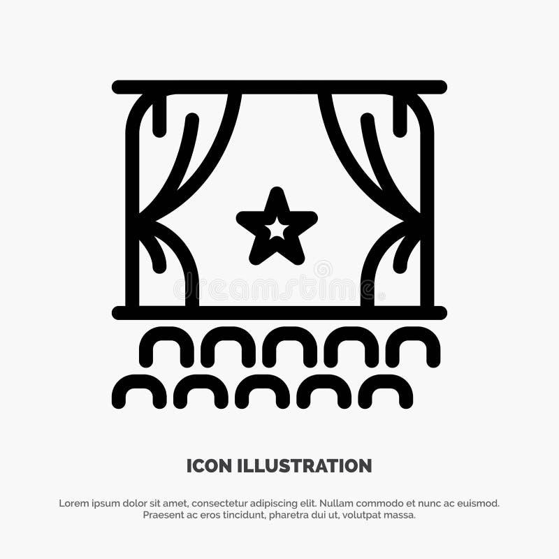 Cine, principio, película, funcionamiento, línea vector de la premier del icono ilustración del vector
