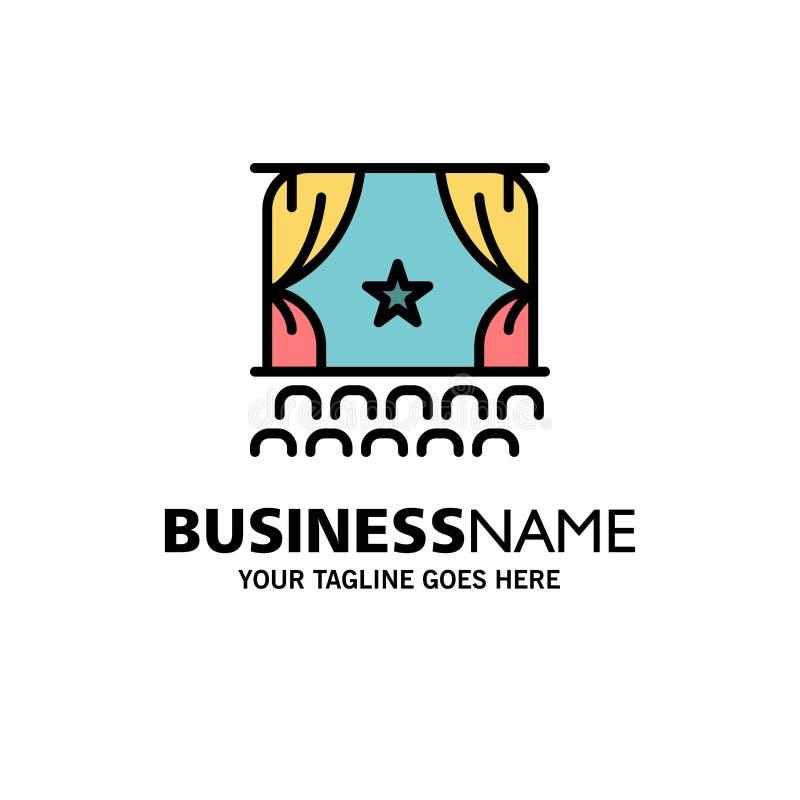 Cine, principio, película, funcionamiento, negocio Logo Template de la premier color plano stock de ilustración