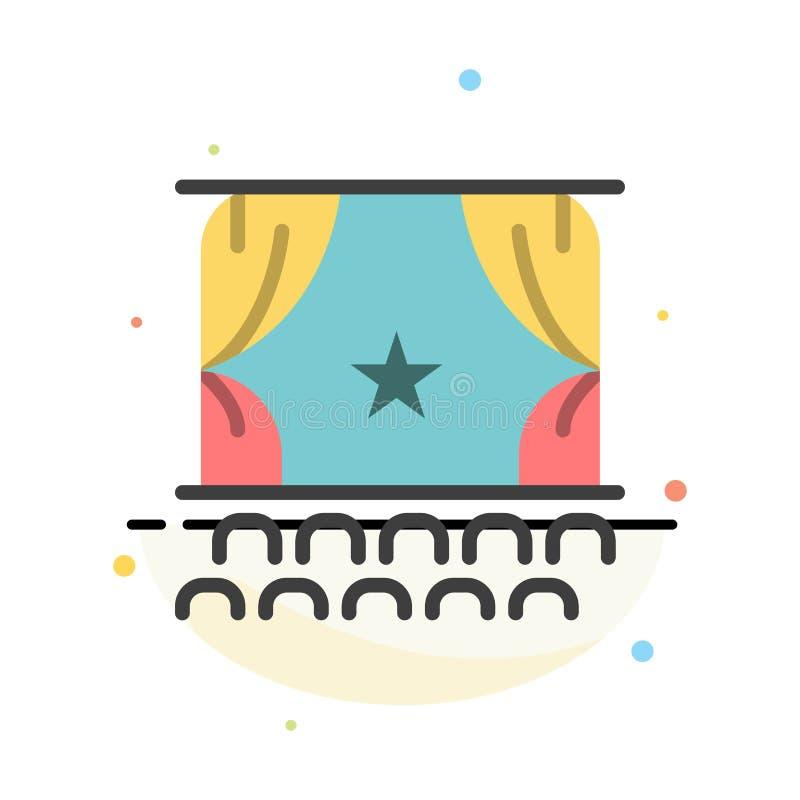 Cine, principio, película, funcionamiento, plantilla plana del icono del color del extracto de la premier libre illustration