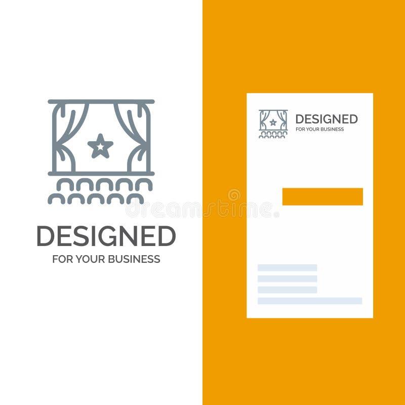 Cine, principio, película, funcionamiento, premier Grey Logo Design y plantilla de la tarjeta de visita ilustración del vector