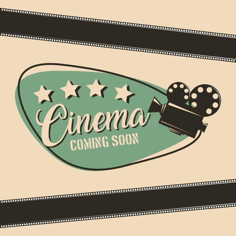 Cine que viene pronto cartel de la tira del proyector de película de cine libre illustration