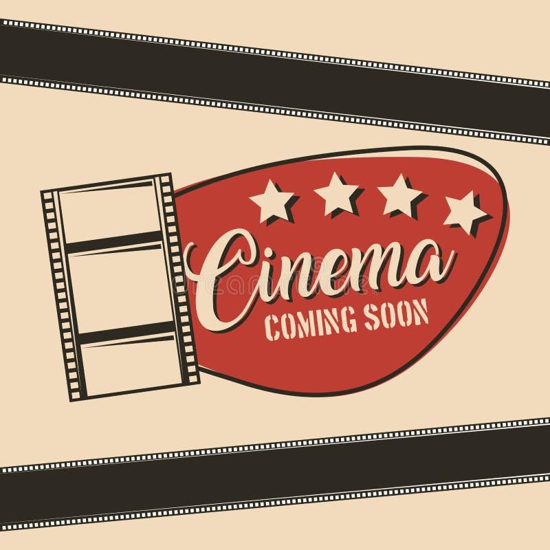 Cine que viene pronto cartel de la tira de la película de cine stock de ilustración