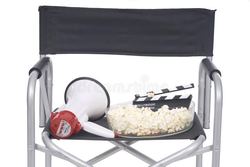 Cine scene with director chair, blackboard cinema stock photos