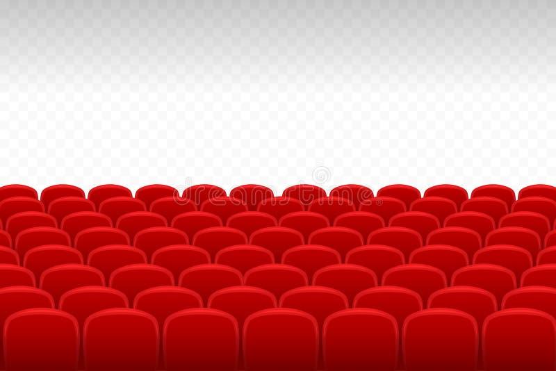 Cine, teatro Las filas de los asientos rojos del terciopelo con el fondo transparente, espacio libre para su diseño necesitan stock de ilustración