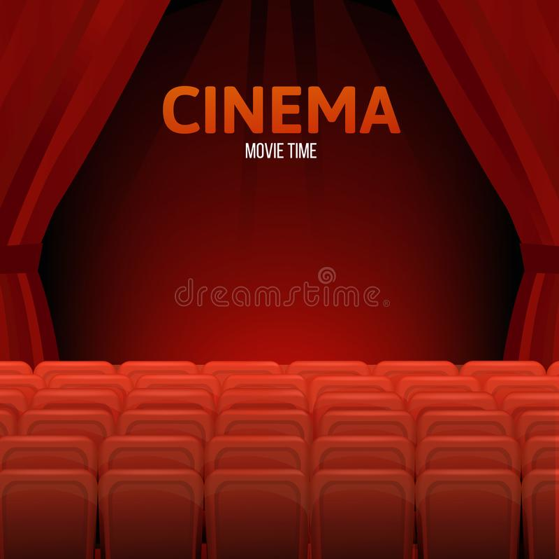 Cine, tiempo de película Pasillo del cine o del teatro Diseño del cartel de la premier ilustración del vector