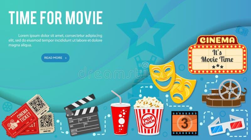 Cine y bandera de la película stock de ilustración