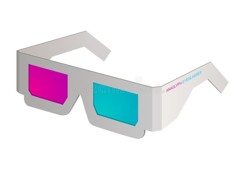 Cinema anaglyph eyeglasses on white. Simple graphic illustration vector illustration