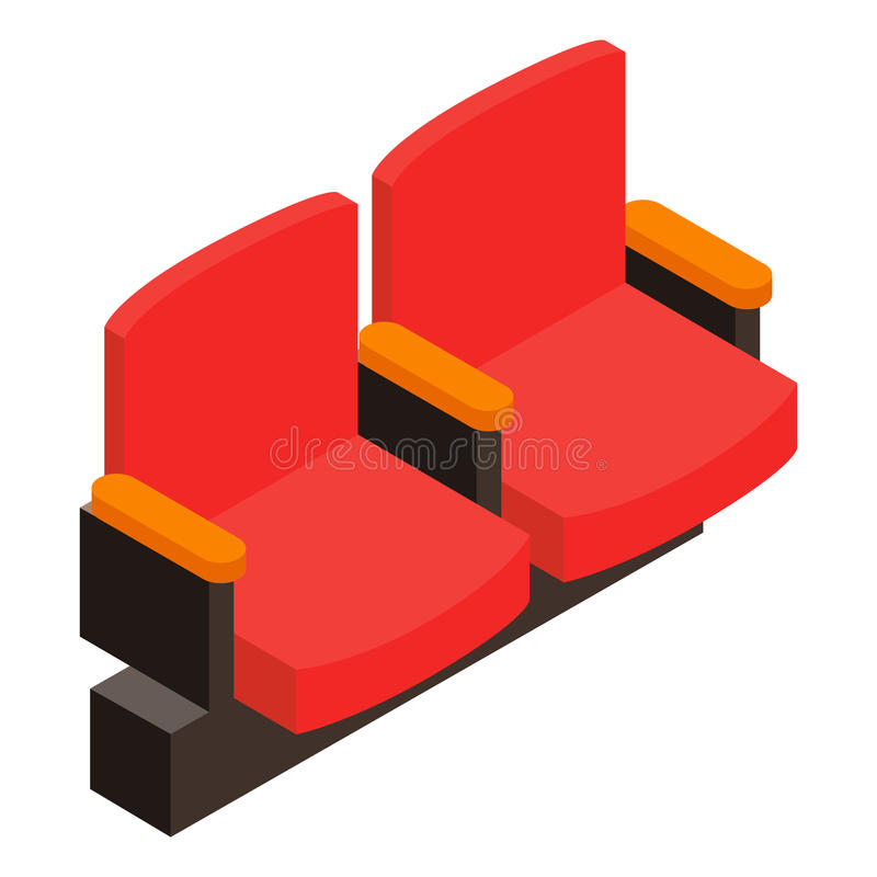 Cinema armchair 3D isometric icon royalty free illustration