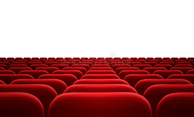 Cinema or audience red seats isolated stock image