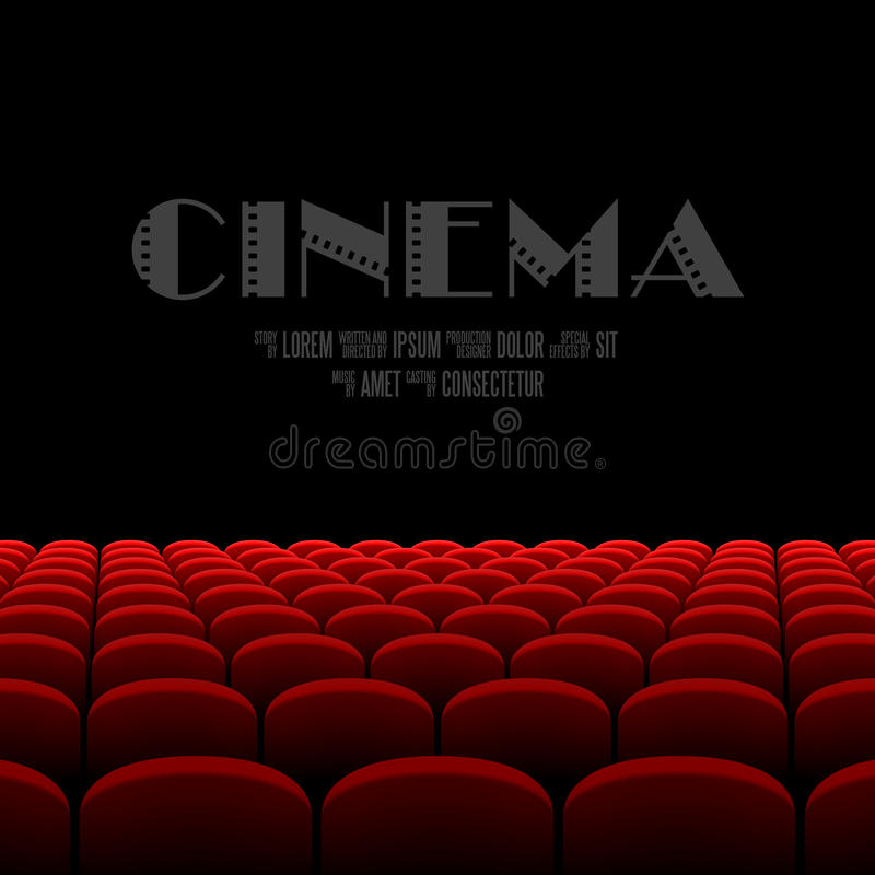 Cinema auditorium with black screen and red seats royalty free illustration