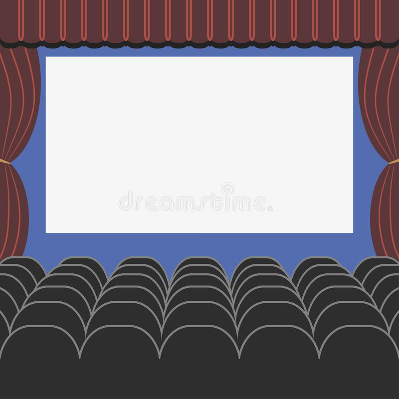 Cinema auditorium in flat style with seats, curtain and blank screen. Movie or theatre hall. Vector. stock illustration
