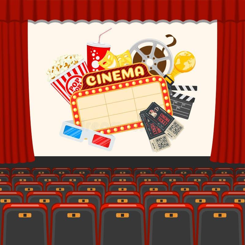 Cinema auditorium met zitmeubelen en popcorn stock illustratie