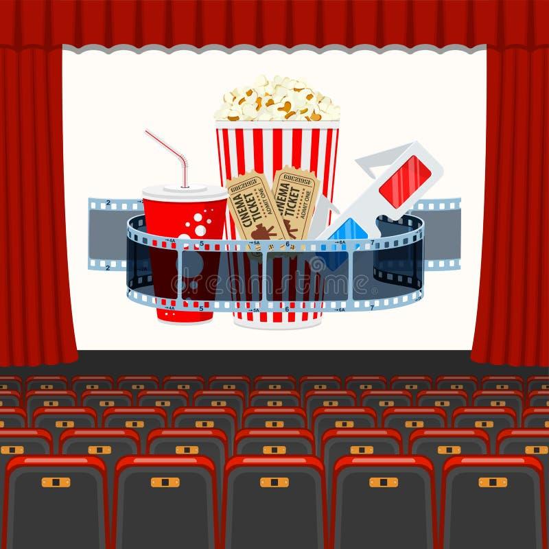 Cinema auditorium met zitmeubelen en popcorn royalty-vrije illustratie